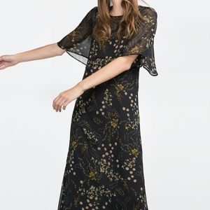 Zara AW 2015 Floral Printed Long Dress XS